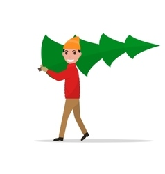 Cartoon man carries a christmas tree vector