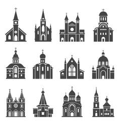 Church icon set traditional religious spiritual vector