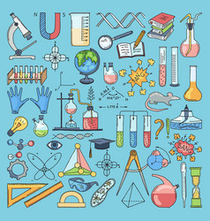 Colored items of science biology and chemical vector