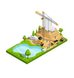 Commercial building construction 3d isometric vector