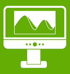 Computer monitor with photo on screen icon green vector
