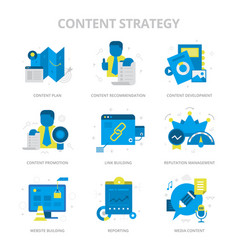 Content strategy flat icons vector