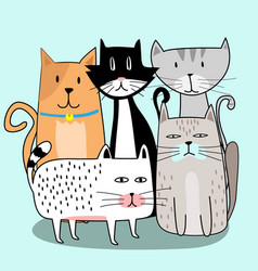 cute cat gang with hand drawn cartoon vector image