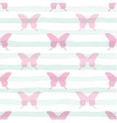 cute seamless pattern with butterflies on stripped vector image