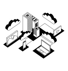 Data center network icons vector