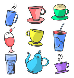 Design drink set doodle hand draw vector