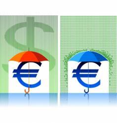 Euro under umbrella vector image