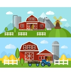 Farm Flat Banner vector