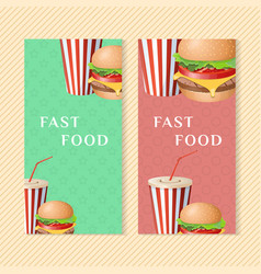 fast food banners with burger and soda cup vector image