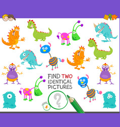 find two identical monsters task for children vector image