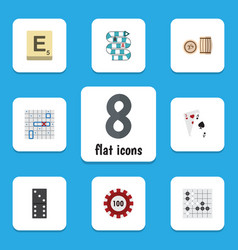 Flat icon entertainment set of mahjong poker vector