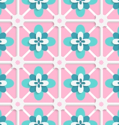 Floristic green and pink tile ornament vector