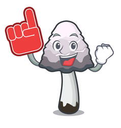 Foam finger shaggy mane mushroom mascot cartoon vector