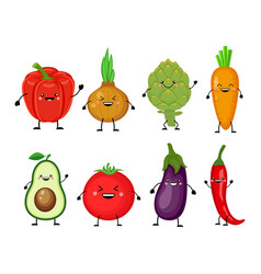 funny cartoon set of different vegetables smiling vector image