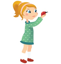 Girl and ladybug vector image