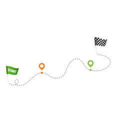 Green flag and checkered flag for racing vector
