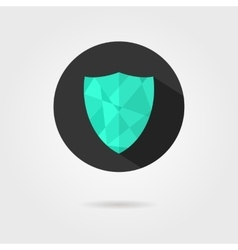 Green shield icon on black circle with shadow vector