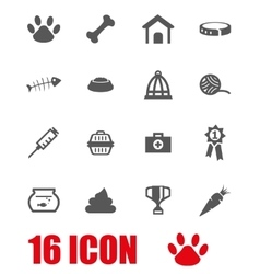 Grey pet icon set vector