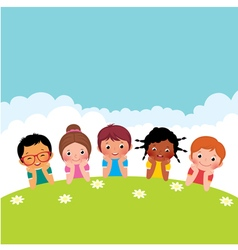 Group of happy children boys and girls vector