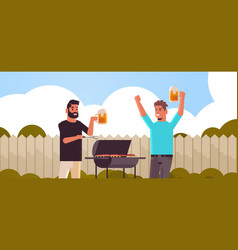 Guys couple preparing meat on grill african vector