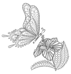 Hand drawn zentangle tribal flying Butterfly and vector