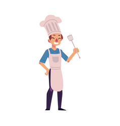 Happy man in chef hat and apron holding turner vector