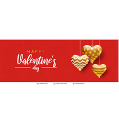 happy valentines day text and hearts on red vector image