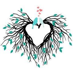 heart wedding tree with birds vector image vector image