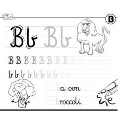 learn to write letter b workbook for children vector image