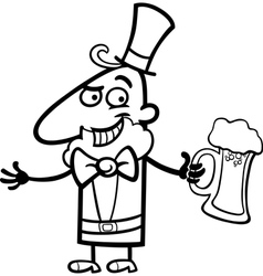 Leprechaun with beer cartoon for coloring vector image