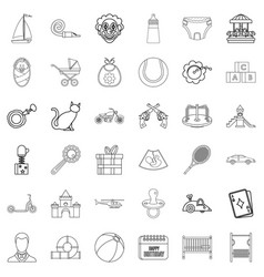 Little child icons set outline style vector