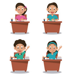 little stutends on desk cartoon vector image