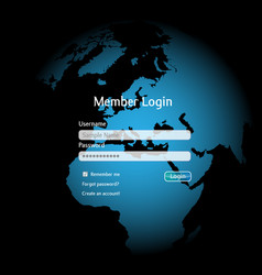 Login interface in a colorful sphere vector