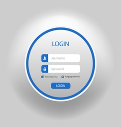 Login web blue round screen template vector image