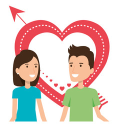 lovers couple with heart and arrow vector image