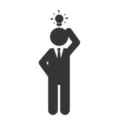 Man idea bulb executive suit tie icon vector