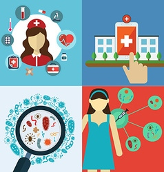 Medical flat banners set with Health care and vector image