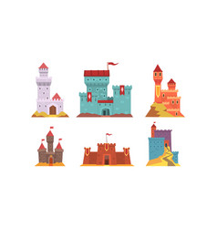 Medieval fairytale castles collection ancient vector