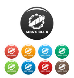 men club icons set color vector image