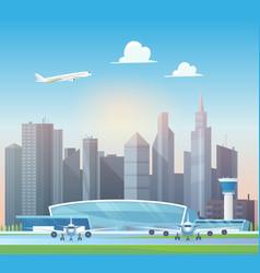 Modern airport terminal buildings airplane taking vector
