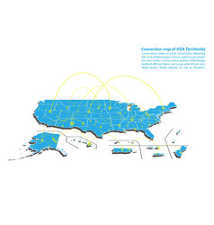 Modern of usa territories map connections network vector