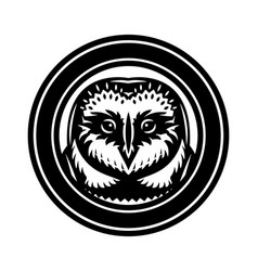 monochrome with an owl head vector image