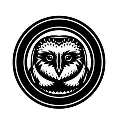 Monochrome with an owl head vector
