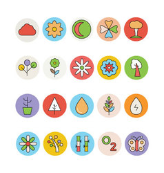 Nature Colored Icons 3 vector