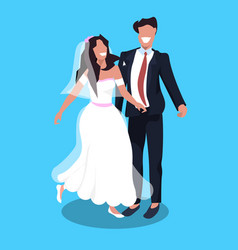 newlyweds man woman standing together romantic vector image