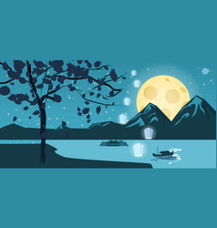 Night landscape with autumn tree falling leaves vector