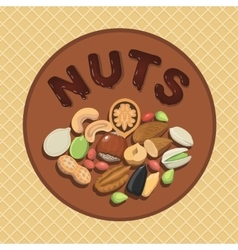 Nut collection with raw food mix and Round label vector