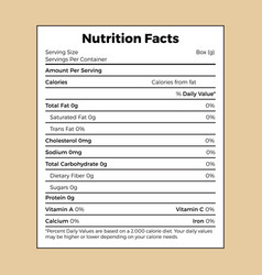 Nutrition facts information label for box vector