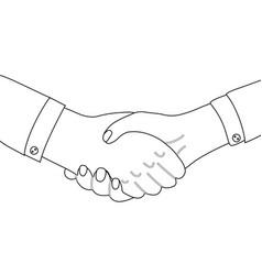 outline man shaking hands line art businessman vector image