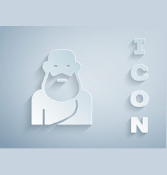 Paper cut socrates icon isolated on grey vector